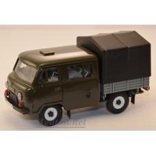 12020-2-УСР УАЗ-39094 Фермер с тентом, (пластик крашенный), зеленый