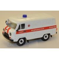 10048-УСР УАЗ-3741 фургон скорая медицинская помощь, белый, таблетка
