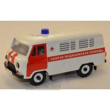 10004-1-УСР УАЗ-3962 автобус скорая медицинская помощь, белый/красный, таблетка